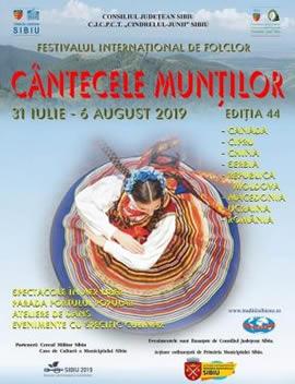 """Festivalul Internațional de Folclor """"Cântecele Munţilor"""", ediţia  a 44-a"""